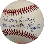 Leon Day Autographed Vintage Rawlings National League Baseball Inscribed Newark Eagles