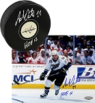 Adam Oates Autographed Washington Capitals 8x10 Photo & Puck Inscribed HOF 12