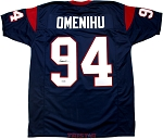 Charles Omenihu Autographed Houston Texans Blue Custom Jersey