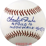 Charles Duke Autographed Major League Baseball Inscribed Apollo 16 Moonwalk-4/21-23/72