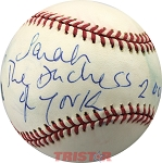 Sarah Ferguson Autographed Major League Baseball Inscribed The Duchess of York 2004