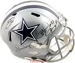 Emmitt Smith, Tony Dorsett & Ezekiel Elliott Autographed Dallas Cowboys Full Size Helmet