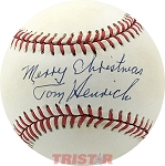 Tommy Henrich Autographed Official AL Baseball Inscribed Merry Christmas