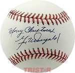 Gil McDougald Autographed Official NL Baseball Inscribed Merry Christmas