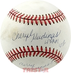 Cheryl Gudinas Autographed Official NL Baseball Inscribed Merry Christmas