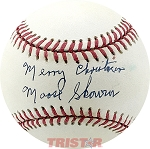 Moose Skowron Autographed Official AL Baseball Inscribed Merry Christmas