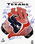 Houston Texans Autographed Glove 16x20 Photo with 24 Signatures