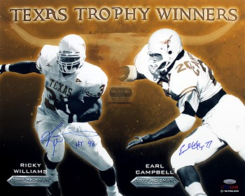 Earl Campbell & Ricky Williams Autographed Inscribed Texas Longhorns 16x20 Photo