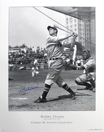 Bobby Doerr Autographed Boston Red Sox Poster