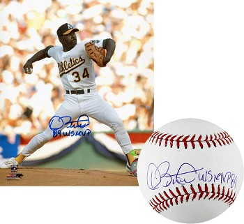 Dave Stewart Autographed Oakland A's 8x10 Photo & Baseball Inscribed 89 WS MVP