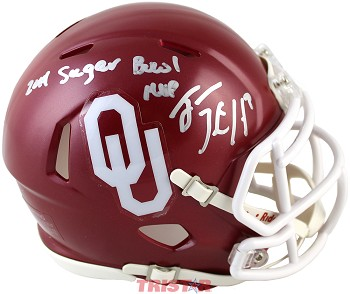 Trevor Knight Autographed OU Sooners Mini Helmet Inscribed 2014 Sugar Bowl MVP