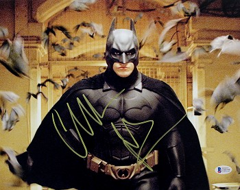 Christian Bale Autographed 'The Dark Knight' Batman with Bats 11x14 Photo