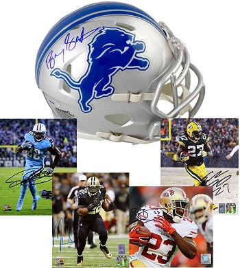 Barry Sanders Autographed Detroit Lions Mini Helmet + 4 Autographed 8x10 Photos