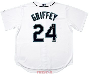 Ken Griffey Jr. Autographed Seattle Mariners White Jersey Inscribed HOF 16
