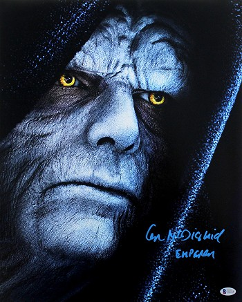 Ian McDiarmid Autographed 'Star Wars' Emperor Close-up 16x20 Photo