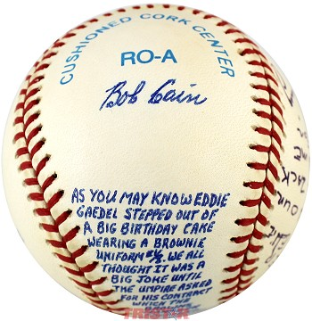 Bob Cain & Jim Delsing Autographed Vintage AL Baseball with Rare Hand Written Story