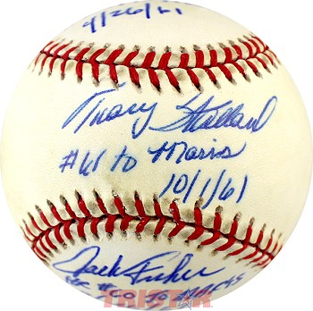 Tracy Stallard, Paul Foytack & Jack Fisher Autographed Baseball with Maris HR Inscriptions
