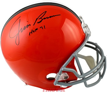 Jim Brown Autographed Cleveland Browns Full Size Replica Helmet Inscribed HOF 71