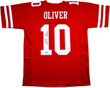Ed Oliver Autographed Houston Cougars Custom Jersey Inscribed 3x All American