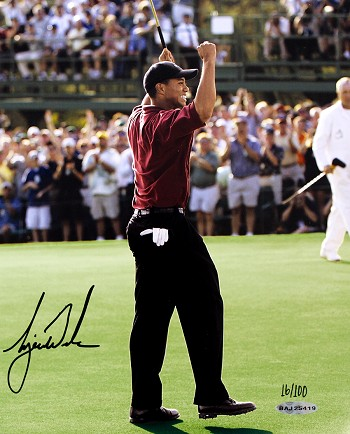 Tiger Woods Autographed 2002 Masters 8x10 Photo Limited Edition of 100