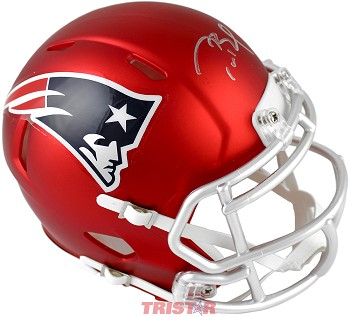 Tom Brady Autographed New England Patriots Red Blaze Mini Helmet