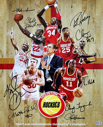 Houston Rockets 1994 & 1995 NBA Champions Autographed 16x20 Photo - Olajuwon, Drexler & More