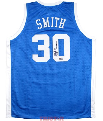 Kenny Smith Autographed North Carolina Custom Jersey Inscribed 87 All American