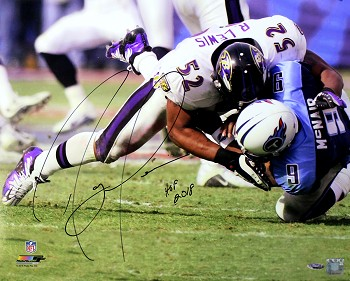 Ray Lewis Autographed Baltimore Ravens Tackling 16x20 Photo Inscribed HOF 18