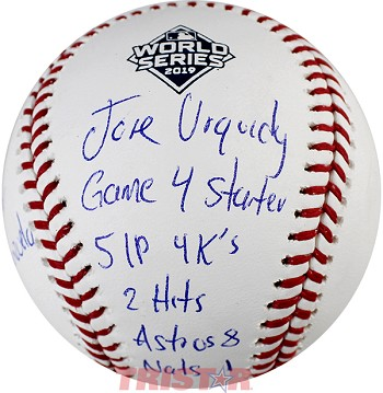 Jose Urquidy Autographed 2019 World Series Baseball with Limited Edition Inscriptions