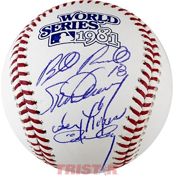 Steve Garvey, Bill Russell, Davey Lopes & Ron Cey Autographed 1981 World Series Baseball
