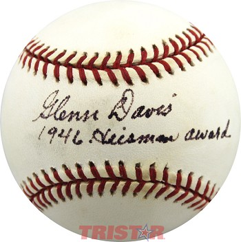Glenn Davis Autographed National League Baseball Inscribed 1946 Heisman Award