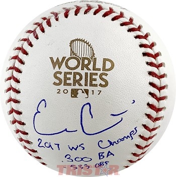 Evan Gattis Autographed 2017 World Series Baseball Inscribed WS Champs, .300 BA, .533 OBP