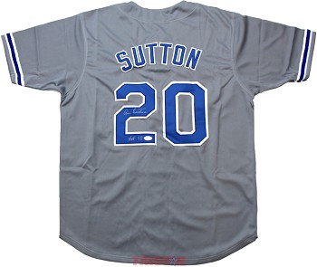 Don Sutton Autographed Dodgers Custom Jersey Inscribed HOF 98