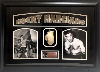 Rocky Marciano Autographed Mini Boxing Glove Framed