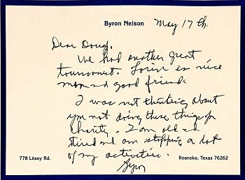 Byron Nelson Autographed Personal Letter to Doug Sanders