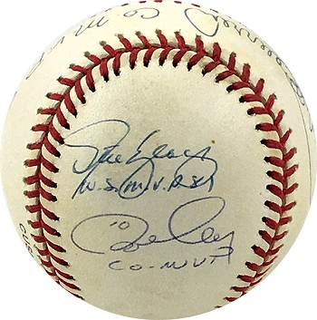 Ron Cey, Pedro Guerrero & Steve Yeager Autographed Baseball Inscribed 81 WS Co MVP