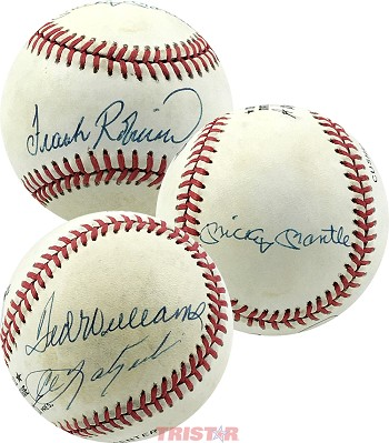 Triple Crown Winners Autographed Baseball - Mickey Mantle, Ted Williams, Carl Yaztrzemski & Frank Robinson