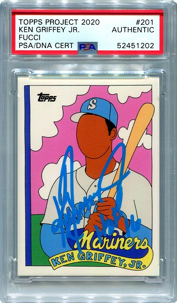 Ken Griffey Jr. Autographed Topps Project 2020 Card #201 Inscribed HOF 16 - Blue 1/1