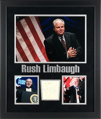 Rush Limbaugh Autographed Cut Signature Framed with Photos
