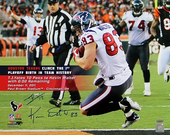 T.J. Yates & Kevin Walter Autographed Houston Texans 16x20 Photo