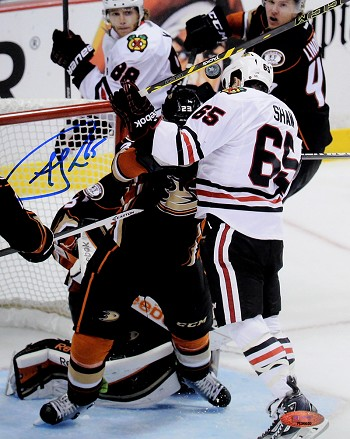 Andrew Shaw Autographed Blackhawks Head Butt Goal 8x10 Photo