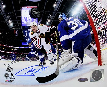 Andrew Shaw Autographed Blackhawks 2015 Stanley Cup Goal 8x10 Photo