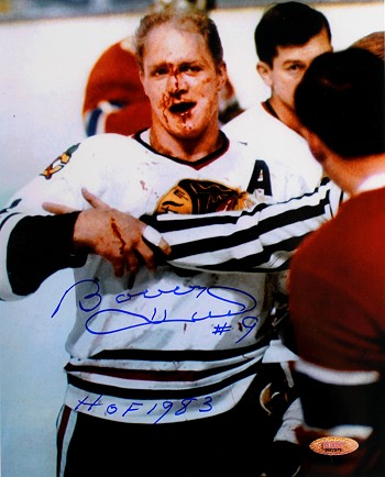 Bobby Hull Autographed Chicago Blackhawks Bloody 8x10 Photo Inscribed HOF 1983