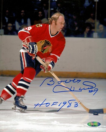 Bobby Hull Autographed Chicago Blackhawks 8x10 Photo Inscribed HOF 1983