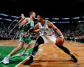 Jahlil Okafor Autographed Philadelphia 76ers 16x20 Photo Inscribed NBA Debut 10-28-15