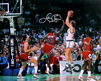 Larry Bird Autographed Boston Celtics vs Michael Jordan 16x20 Photo