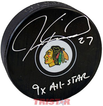 Jeremy Roenick Autographed Chicago Blackhawks Logo Puck Inscribed 9x All Star