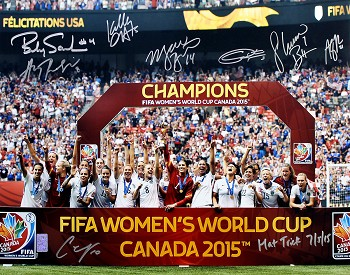 USA Women's Soccer Team Autographed 2015 World Cup 16x20 Photo Lloyd Inscribed Hat Trick