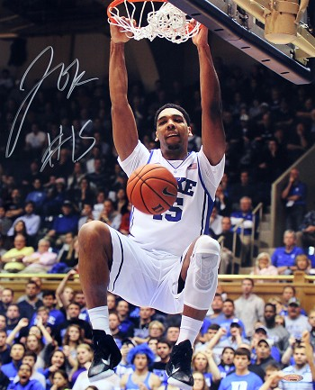 Jahlil Okafor Autographed Duke Dunk Close-up 16x20 Photo