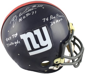Y.A. Tittle Autographed New York Giants Authentic Throwback Helmet - 5 Inscriptions